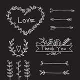 Grupo de elementos decorativo do amor do casamento Fotografia de Stock