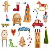 Grupo de elementos decorativos Fotografia de Stock