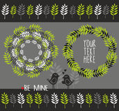 Grupo de elementos decorativos com plantas Fotos de Stock Royalty Free