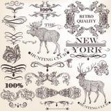 Grupo de elementos decorativos do vintage do vetor para o projeto Fotos de Stock