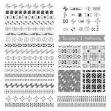 Grupo de elementos decorativos, escovas do vetor, beiras, testes padrões Imagem de Stock Royalty Free