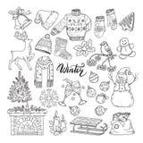 Grupo de elementos diferentes dos invernos Ilustrações do vetor de objetos do feriado ilustração royalty free
