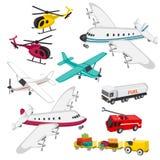 Grupo de elementos do aeroporto Imagens de Stock