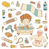 Grupo de elementos do banheiro dos desenhos animados do vetor e de ite da higiene pessoal ilustração royalty free
