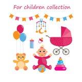 Grupo de elementos do bebê urso, brinquedos, garrafa, carrinho de criança, criança Ilustração do vetor ilustração stock