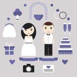 Grupo de elementos do casamento Imagem de Stock