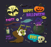 Grupo de elementos do Dia das Bruxas dos desenhos animados Vetor Fotografia de Stock Royalty Free