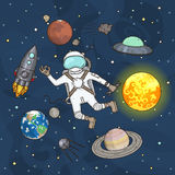 Grupo de elementos do espaço Astronauta, terra, Saturn, lua, UFO, foguete, cometa, Marte, sol, esputinique e estrelas Imagens de Stock Royalty Free