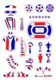 Grupo de elementos do futebol Foto de Stock Royalty Free