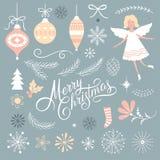 Grupo de elementos do gráfico do Natal ilustração stock