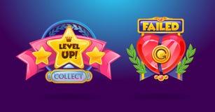 Grupo de elementos do jogo 'Ao nível acima ', 'falhou 'botões coloridos dos desenhos animados ilustração do vetor