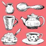 Grupo de elementos do kitchenware no fundo vermelho Foto de Stock Royalty Free