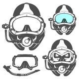 Grupo de elementos do mergulho autônomo para emblemas, logotipo, cópias, tatuagem, etiqueta e projeto Fotografia de Stock