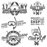 Grupo de elementos do mergulho autônomo para emblemas, logotipo, cópias, tatuagem, etiqueta e projeto Imagem de Stock