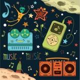 Grupo de elementos do musical e do espaço Imagens de Stock Royalty Free