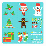 Grupo de elementos do Natal Fotos de Stock