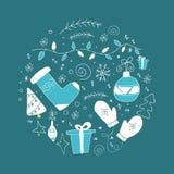 Grupo de elementos do Natal no círculo em cores azuis e brancas ilustração do vetor