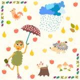 Grupo de elementos do outono dos desenhos animados Foto de Stock