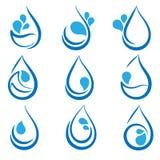 Grupo de elementos do projeto da água, de emblemas, de logotipo dos sinais e de ícones Imagem de Stock