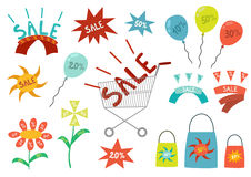 Grupo de elementos do projeto da venda ilustração royalty free