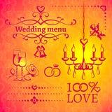 Grupo de elementos do projeto do casamento Fotografia de Stock Royalty Free
