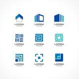 Grupo de elementos do projeto do ícone Ideias abstratas do logotipo para a empresa de negócio Construção, construção, casa, conex Fotografia de Stock Royalty Free