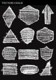Grupo de elementos do projeto do Grunge das formas do giz do vetor Imagens de Stock Royalty Free