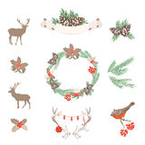 Grupo de elementos do projeto do Natal do vetor Fotografia de Stock Royalty Free