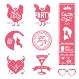 Grupo de elementos do projeto do partido de galinha Selos da noite das senhoras ilustração royalty free