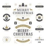 Grupo de elementos do projeto do vetor das etiquetas e dos crachás do Natal Imagens de Stock
