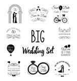 Grupo de elementos do projeto do vintage do convite do casamento Ilustração do vetor Imagens de Stock Royalty Free