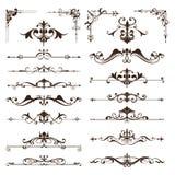 Grupo de elementos do projeto do vintage do vetor de ornamento Fotografia de Stock
