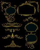 Grupo de elementos do projeto dourados ilustração do vetor