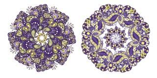Grupo de 2 elementos do teste padrão do círculo em cores roxas e douradas para Imagens de Stock Royalty Free