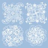 Grupo de 3 elementos do teste padrão feitos no estilo de confecção de malhas do guardanapo no whit Imagens de Stock