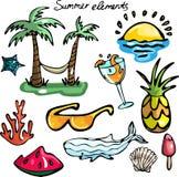 Grupo de elementos do verão ilustração royalty free