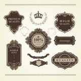 Grupo de elementos do vintage: heráldica, bandeiras, etiquetas, quadros, fitas Imagens de Stock Royalty Free