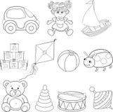 Grupo de elementos dos brinquedos do bebê esboçado ilustração royalty free