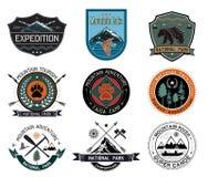 Grupo de elementos dos crachás do acampamento das madeiras do vintage e do logotipo e do projeto do curso