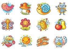 Grupo de elementos dos desenhos animados para projetos das crianças ilustração royalty free