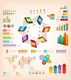 Grupo de elementos dos gráficos da informação. ilustração do vetor