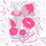 Grupo de elementos dos remendos da flor e da planta ilustração do vetor
