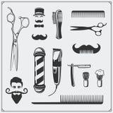 Grupo de elementos e de crachás do projeto da barbearia do vintage Imagem de Stock