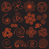 Grupo de elementos espirais simples Imagens de Stock Royalty Free