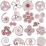 Grupo de elementos espirais simples Imagem de Stock Royalty Free