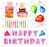 Grupo de elementos estilizados do aniversário Velas tiradas mão dos desenhos animados, bolos e balões da rotulação ilustração do  ilustração royalty free