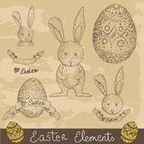 Grupo de elementos feliz de Easter do vintage Fotografia de Stock