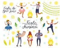 Grupo de elementos de Festa Junina ilustração royalty free