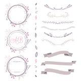 Grupo de elementos florais do vetor abstrato, de quadro, de fita, etc. Imagem de Stock Royalty Free