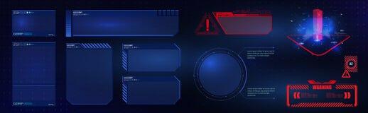 Grupo de elementos futurista da tela da interface de usuário do GUI de HUD UI Tela da alta tecnologia para o jogo de vídeo Projet ilustração royalty free